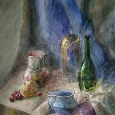 Still life watercolor in cold colors