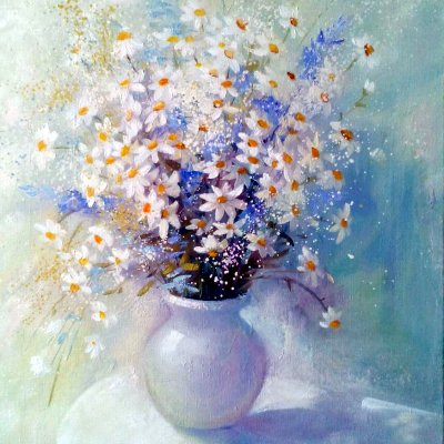 Still life with chamomile and lavender