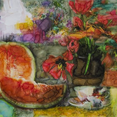 Still life watermelon and tulips