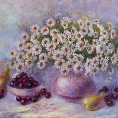 Still life with chamomile and fruit