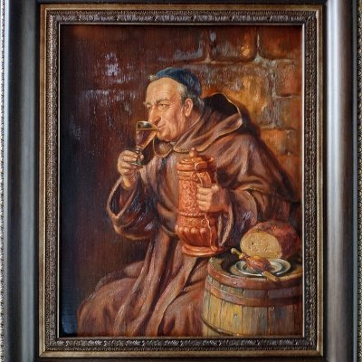 A monk at dinner.