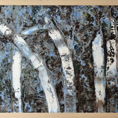 Landscape oil large painting in frame in blue colors abstract birches