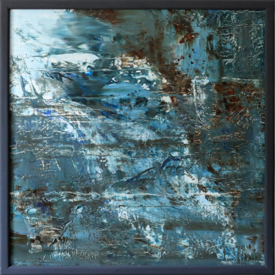Oil painting on wood 76Х76 in blue gray tones mountain abstract waterfall buy in Minsk from a modern artist