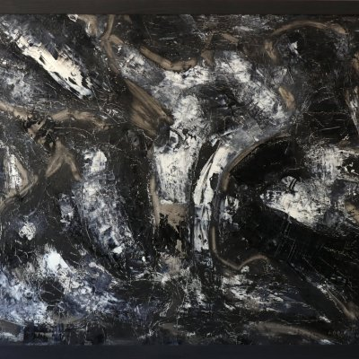 Painting abstract oil large Black and White 68Х85