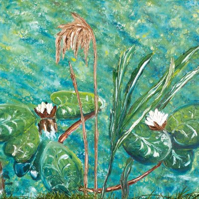 Oil painting on canvas water lilies 50Х60