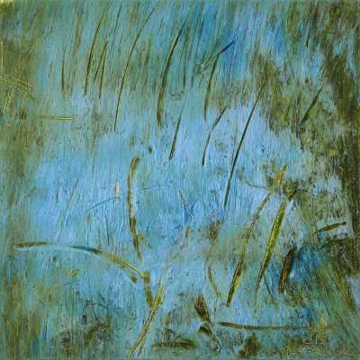 Abstract Square Oil Painting on Canvas Grass Green Blue