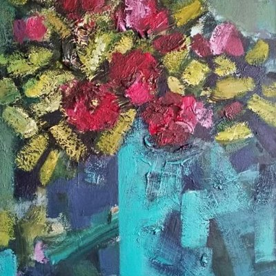 Flowers on turquoise