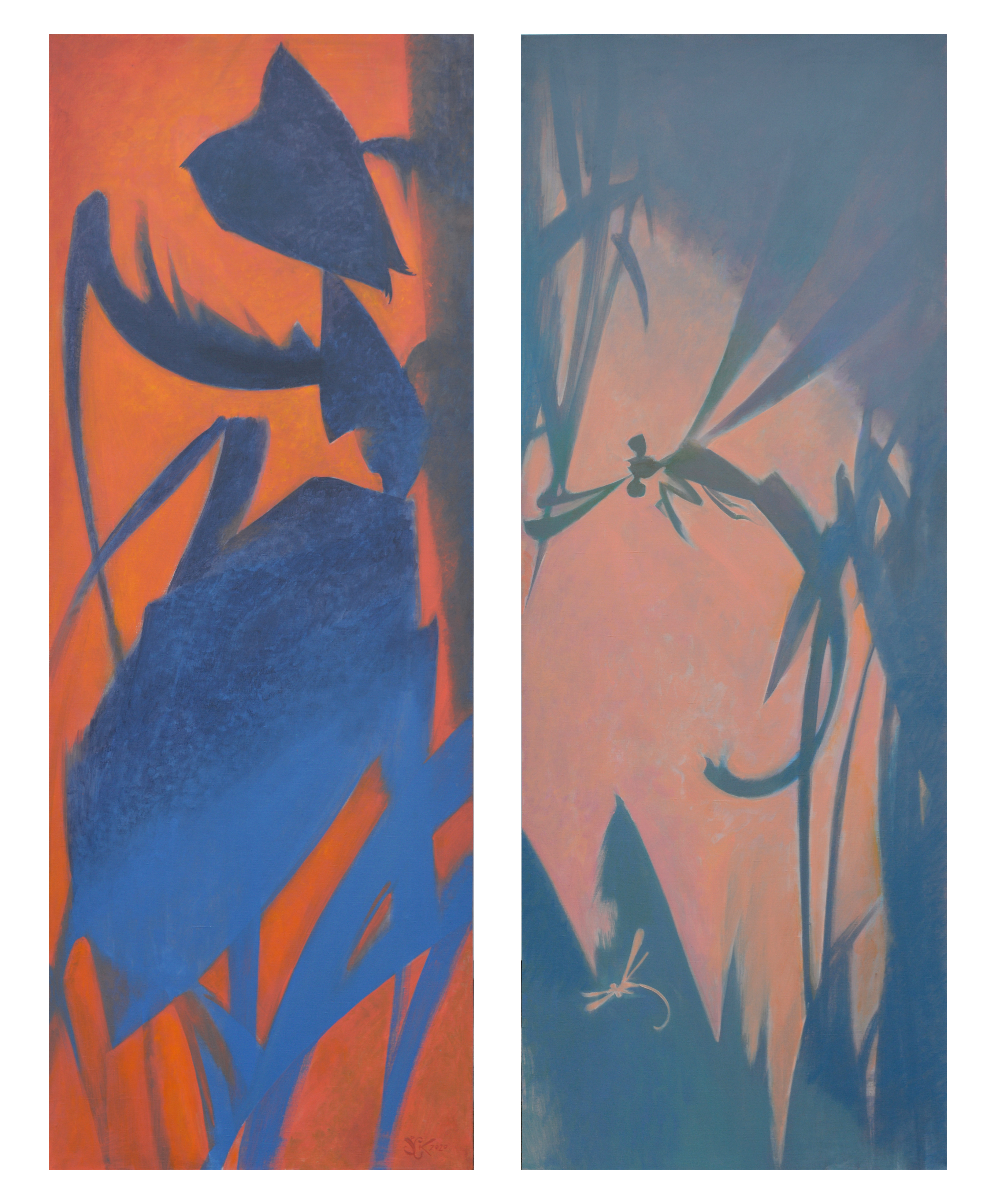 Dragonfly and Ant (diptych)