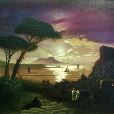 The Bay of Naples on the moonlit night (a free copy of the work by I. K. Aivazovsky)