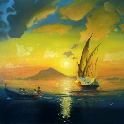 The Bay of Naples (a free copy based on the painting by I.C. Aivazovsky)