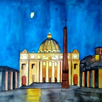 The moon over St Peter's Square
