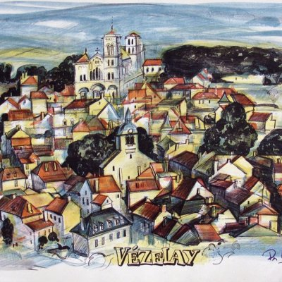 "Autolithography ""VEZELAY"" Medieval city in France"