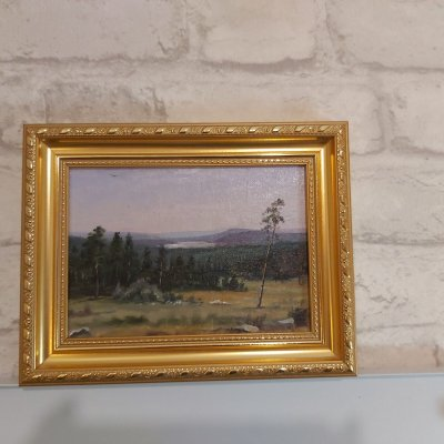 Miniature copy of Shishkin's painting, Distant given