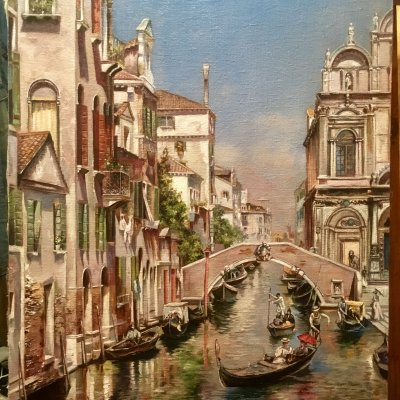 """Copy of Rubens Santoro 1859-1942 painting """"Canal and Scuola San Marco"""""""