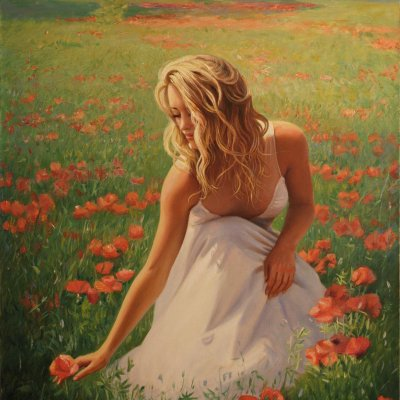 Girl in poppy field.