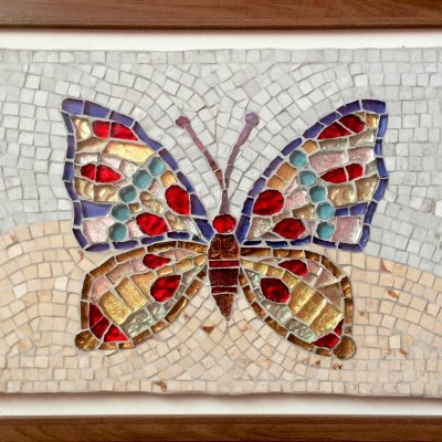 """Mosaic of ceramic and glass tiles """"Butterfly"""""""