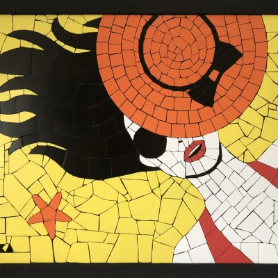"""Mosaic of ceramic tiles in the style of pop art """"Girl on the beach"""""""