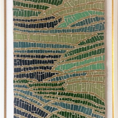 """Mosaic of glass tiles """"Rice Fields"""""""
