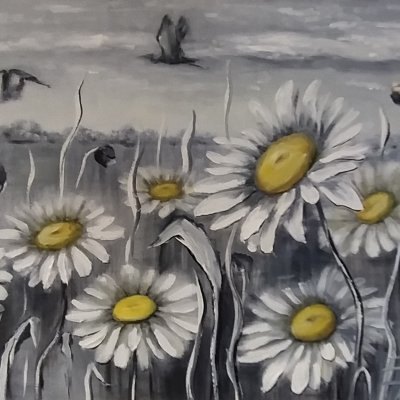 There's only a moment. Daisies.