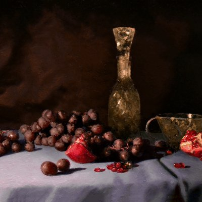 Still life with pomegranate and grapes
