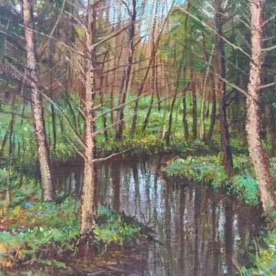 Forest river in spring