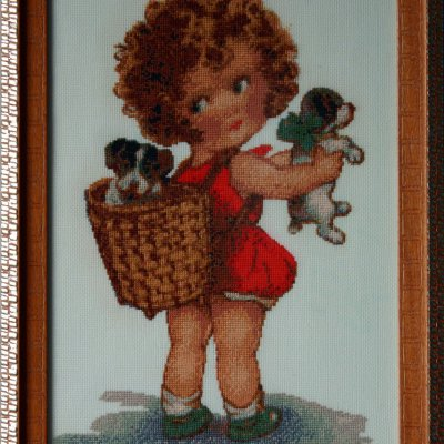"""Painting """"Pleasant hassles"""", handmade, embroidery"""