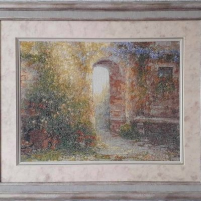"""Picture """"Spanish courtyard"""", handmade, embroidery."""