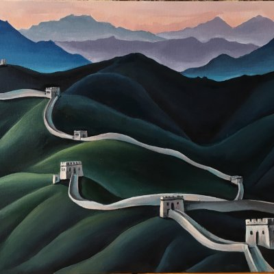 Great Wall of China in the style of Nicholas Roerich