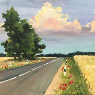 Road to summer with poppies