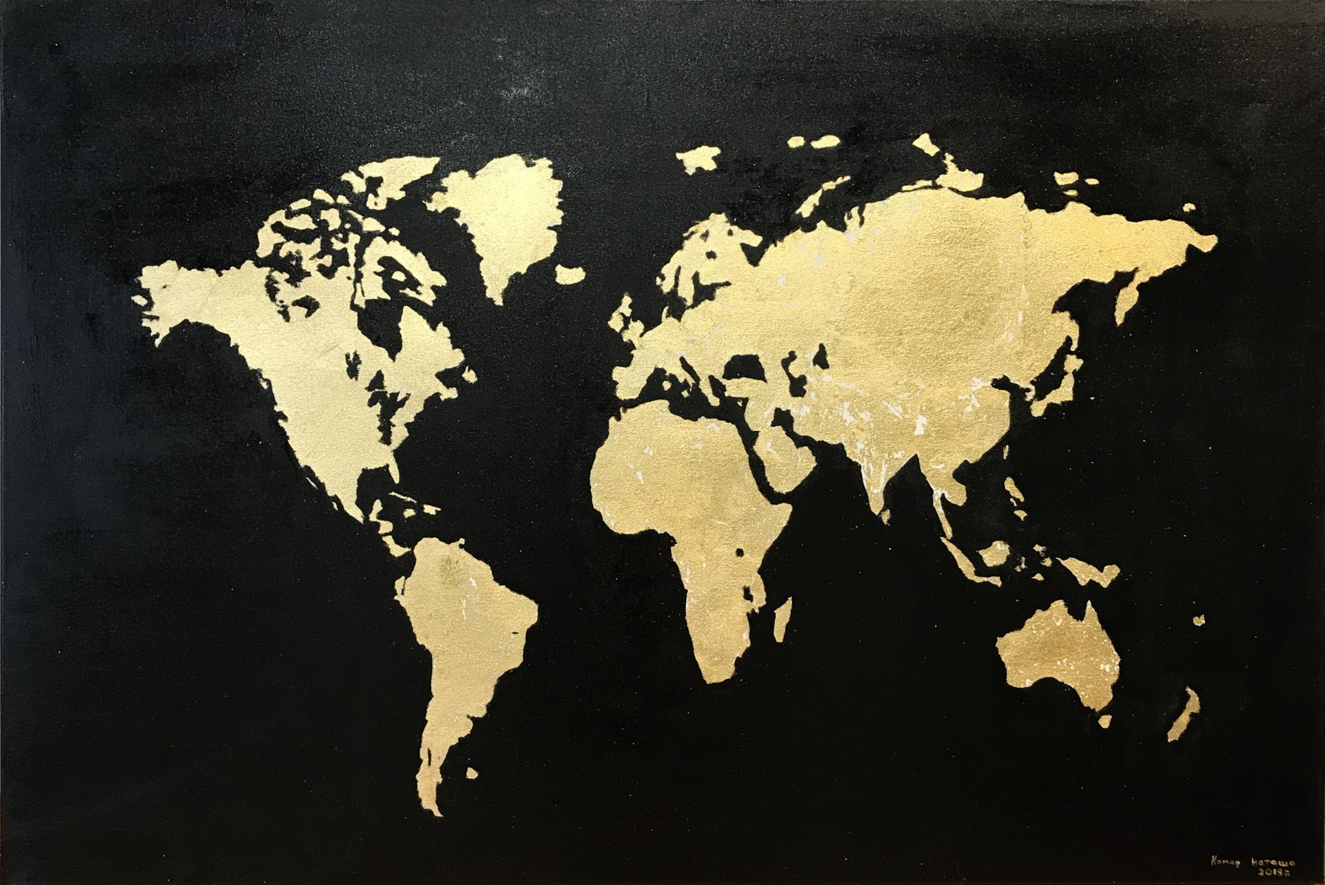 The map of the world is gold. Mainland