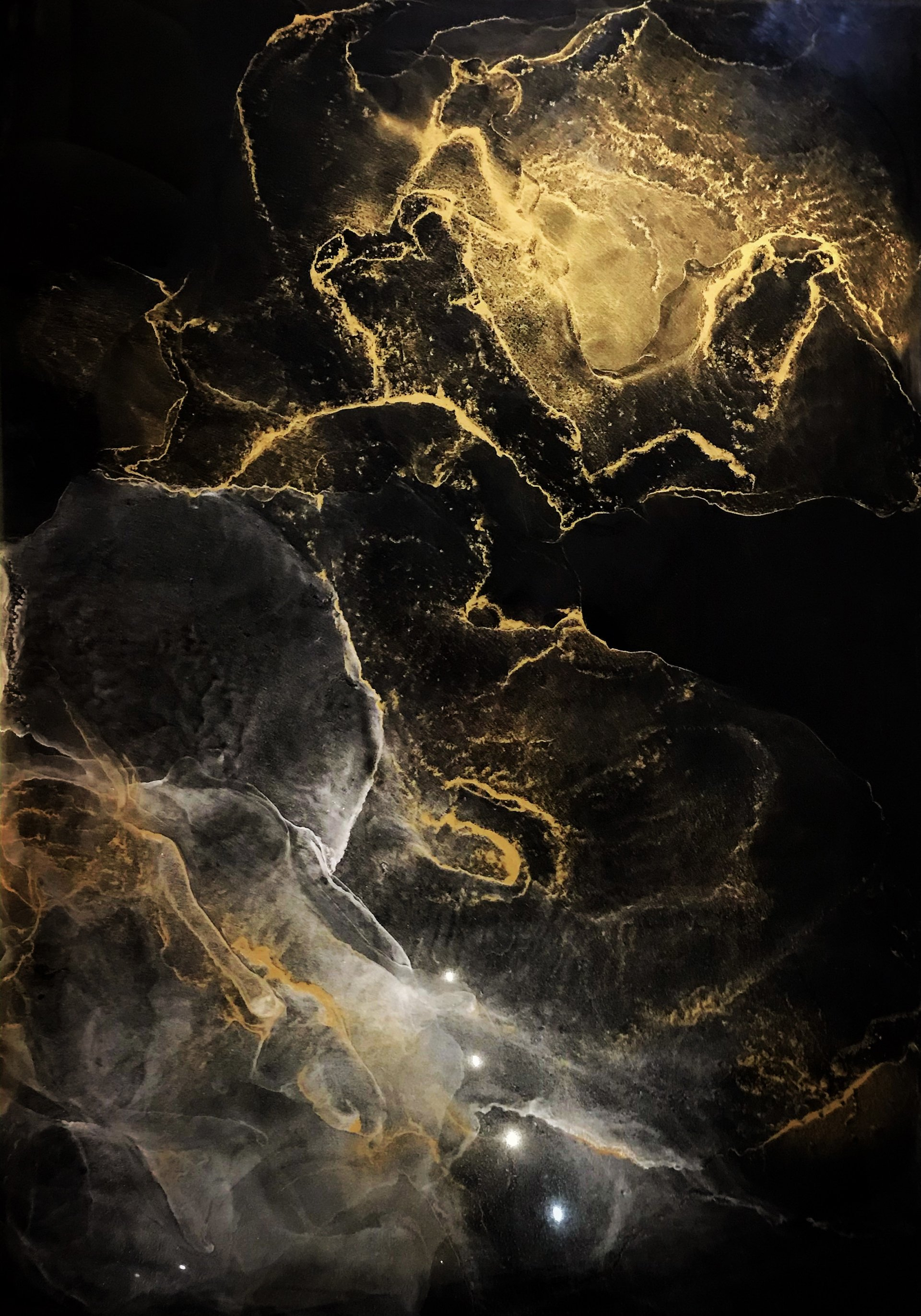"""Gold Abstraction """"Infinity"""" (abstract gilded painting)"""
