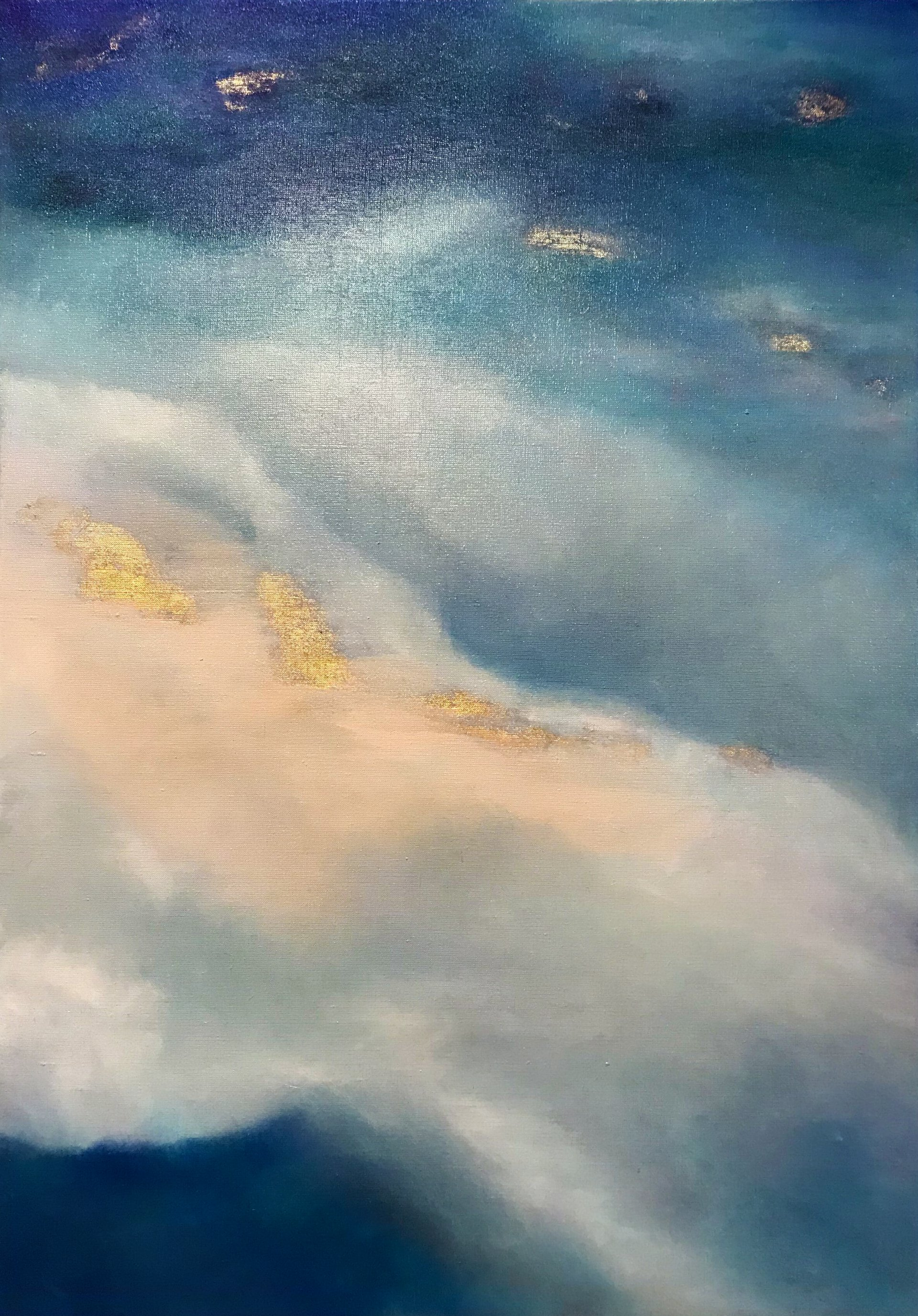 """Delicate sky-turquoise abstraction """"Waves"""""""