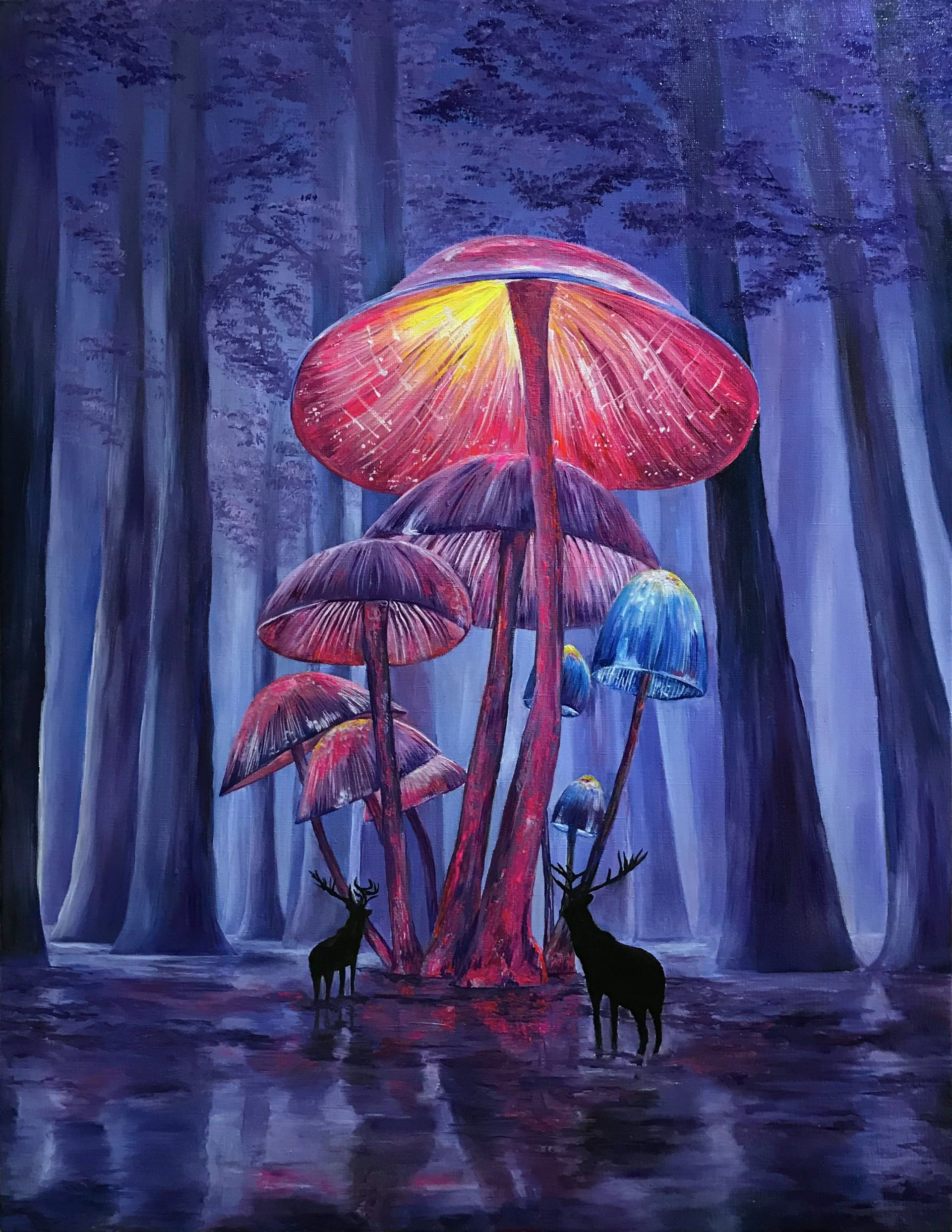 """Psychedelic Psychedelic Painting """"Magic Mushrooms/Psychedelic Art Magic Mushrooms"""""""