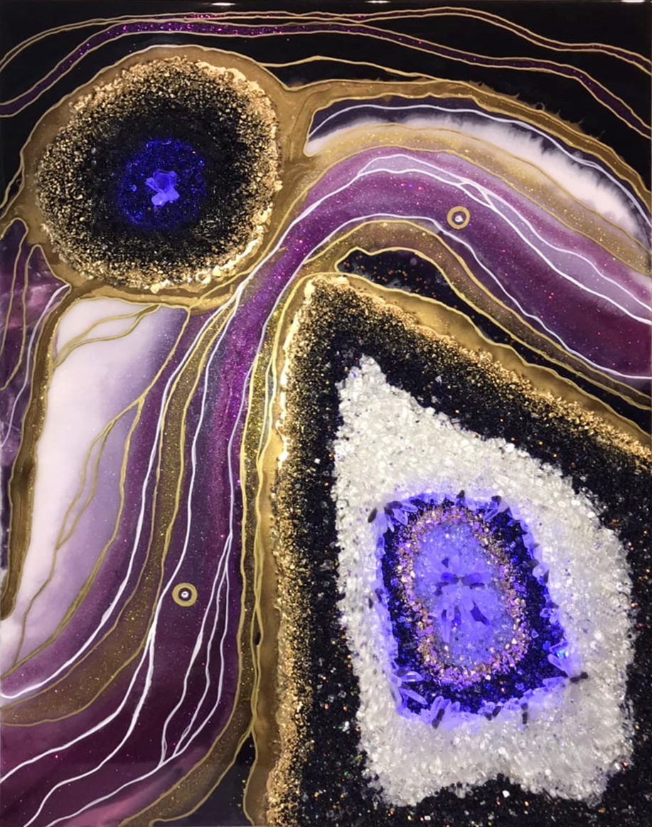 """3d painting """"Geode Amethyst Stone Slice"""" by epoxy"""