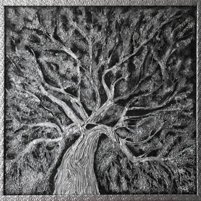 Painting Abstraction Tree of Life/silver wood/luxury luxury jewelry relief volumetric