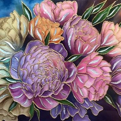 """Mirror flower painting """"Peonies"""" (bouquet of peonies) painting with flowers"""