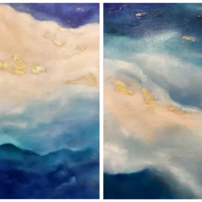 Blue abstract paintings with gold (diptych)
