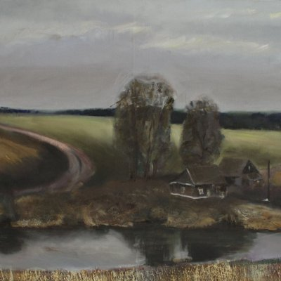 Landscape with road and lake