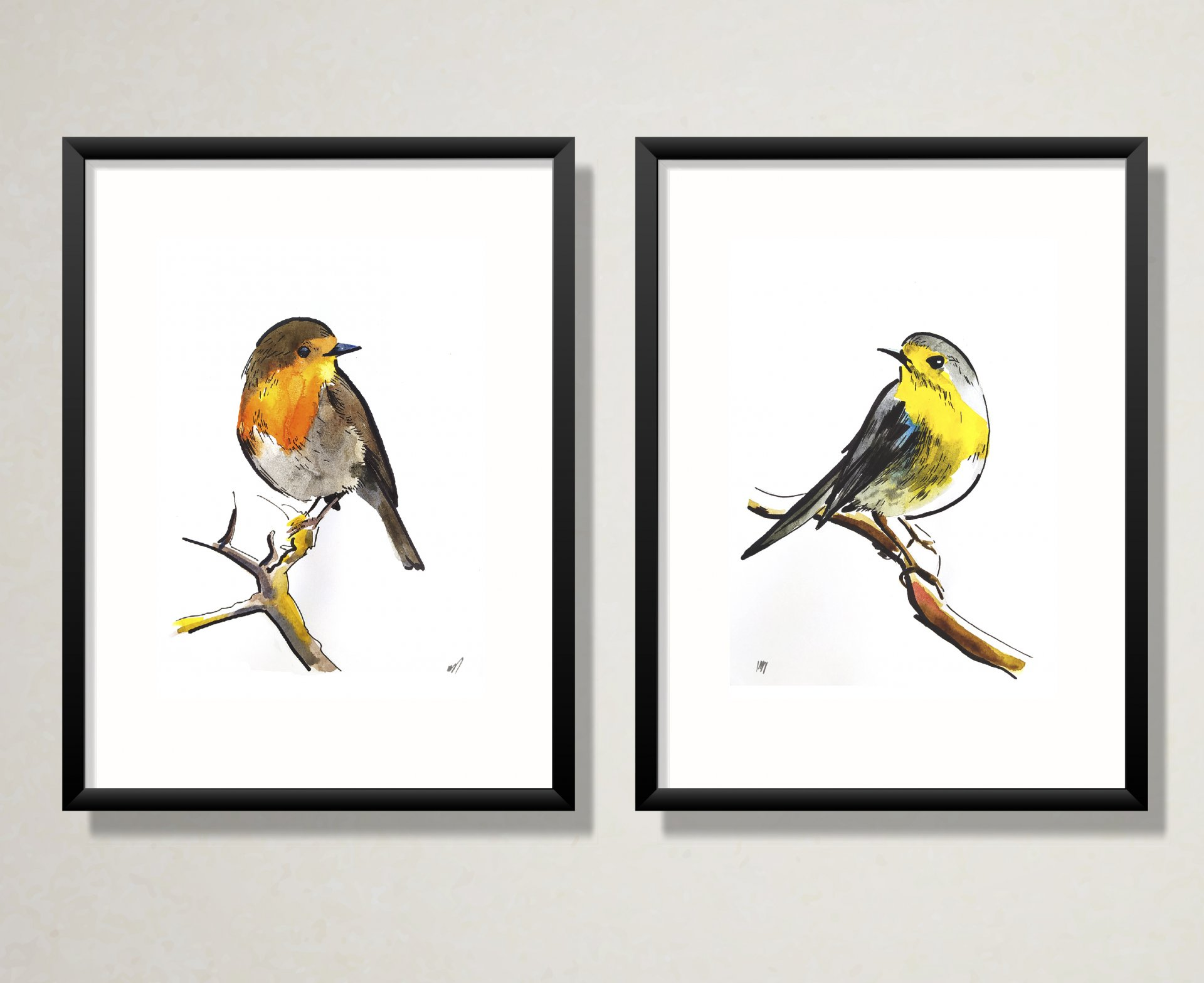 A series of two works. Birds.