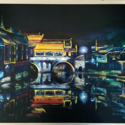 Night in China. The town of Fenhuang.