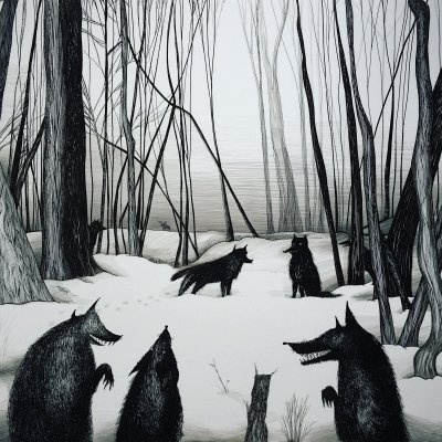 Wolves on the snow