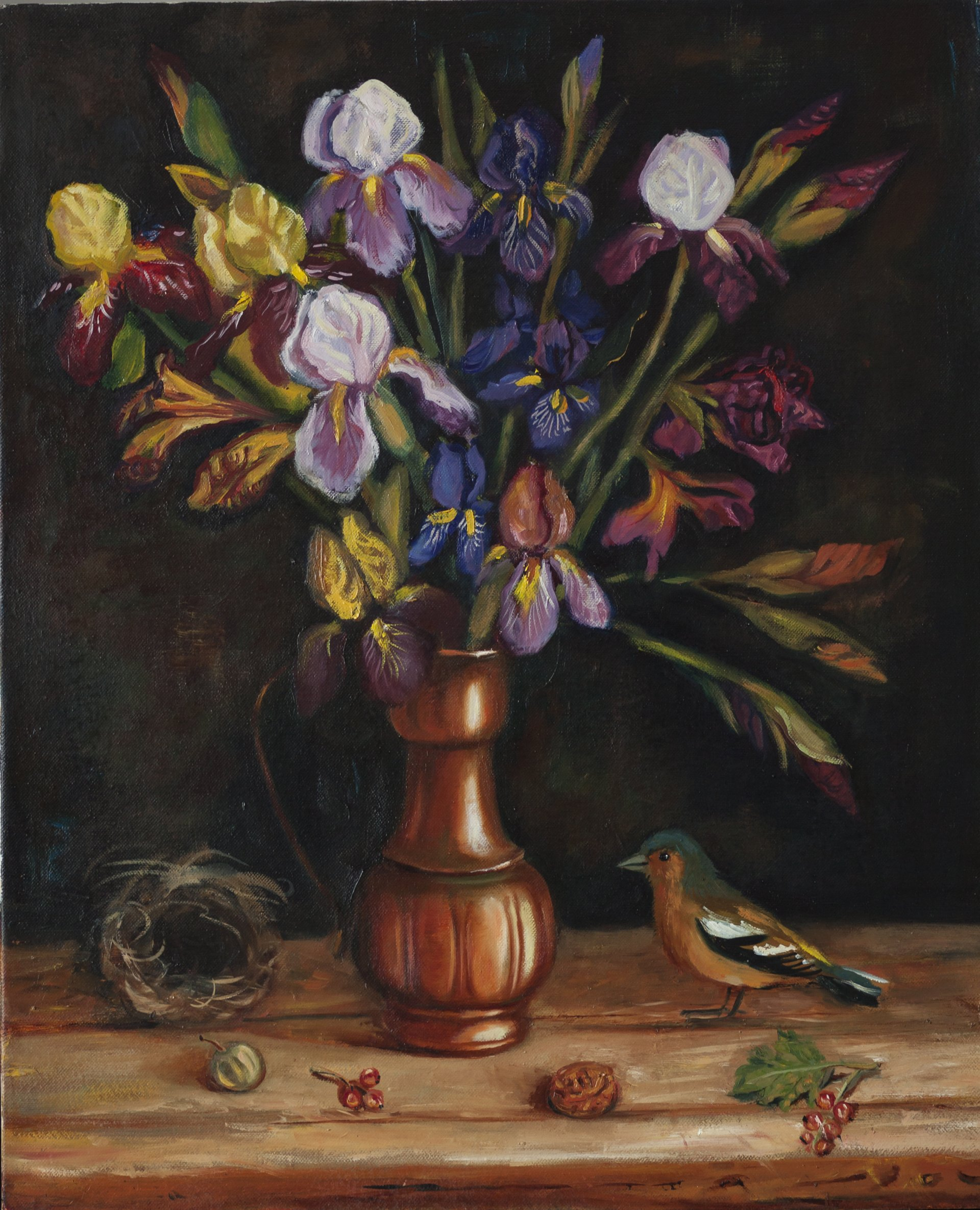 A bouquet of irises and poultry