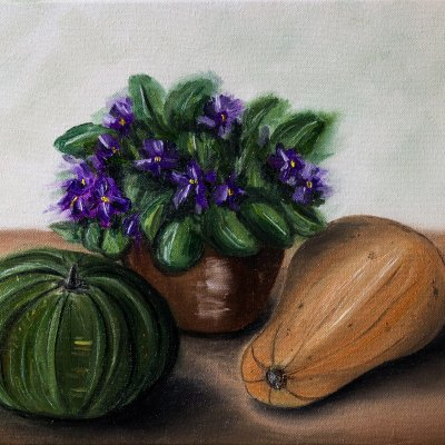 Still life with violets and pumpkins