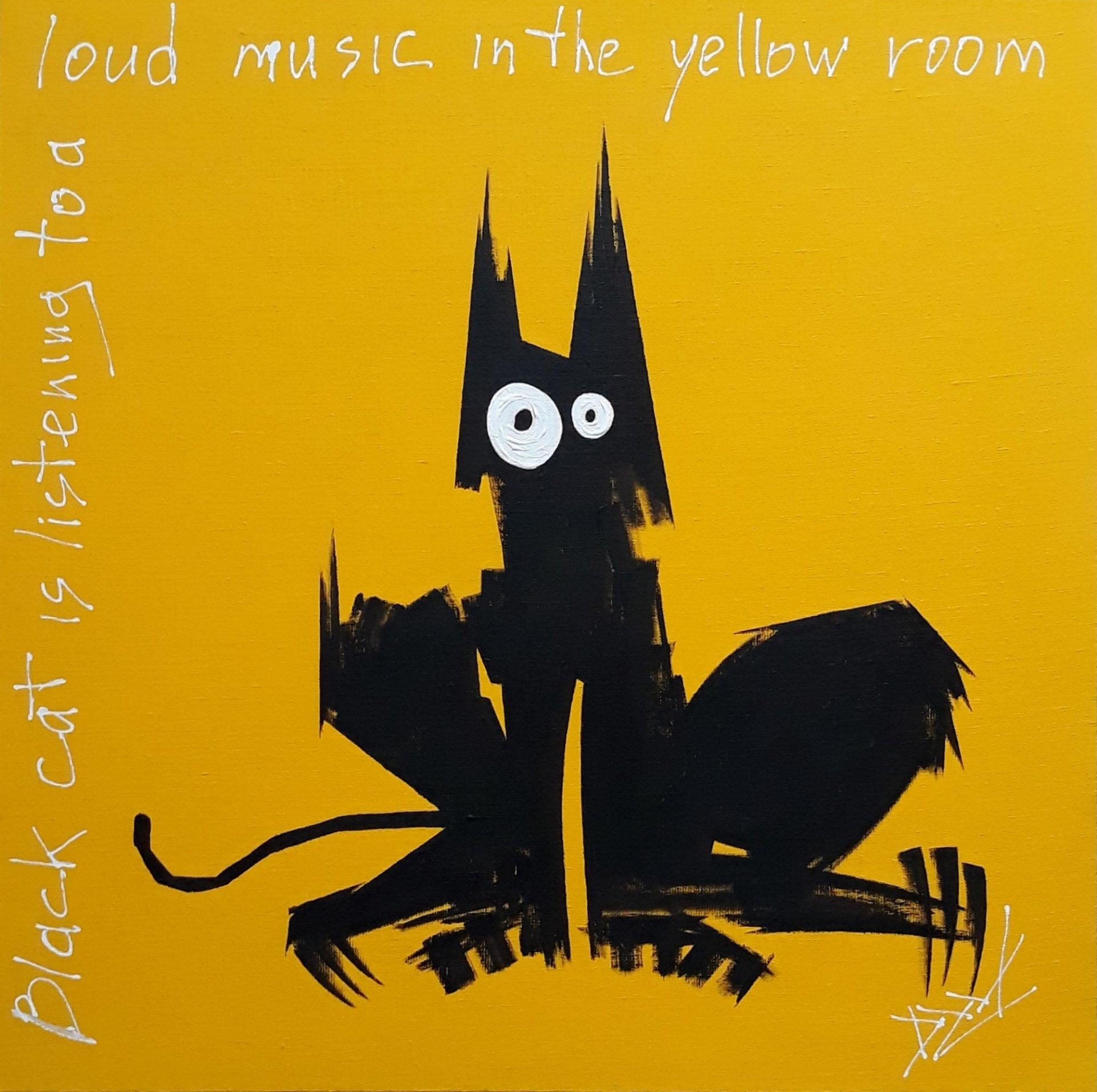 A black cat listens to loud music in the yellow room.