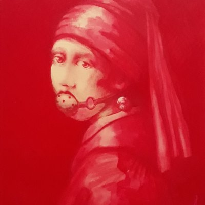 Girl with a pearl earring and a gag.