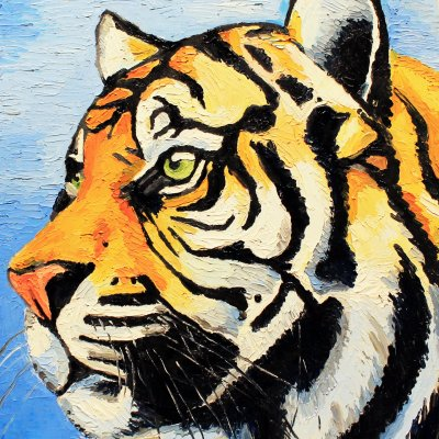 """""""Painting with Tiger"""" oil on canvas on the frame (Impasto, Painting with Smears, Animalistics, Animals, Orange))"""