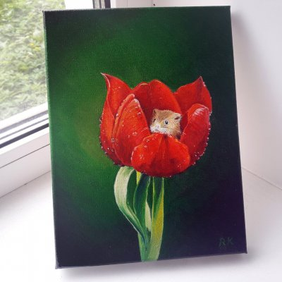 """Oil painting on canvas """"Mouse in Tulip"""" (Flower, Flowers, Animals, Green painting, Red tulip, Still life, Animalistics)"""