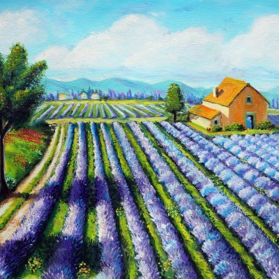 Painting Lavender Field in Italy
