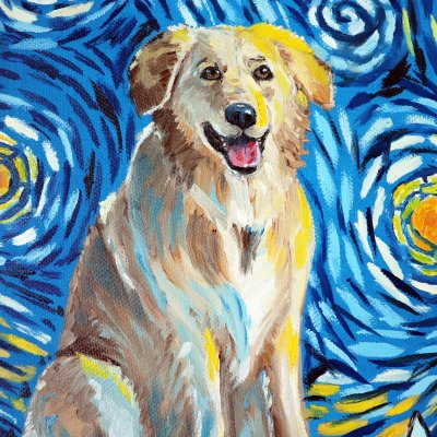 """Portrait of a dog with a photo to order (in the style of """"Starry Night"""")"""