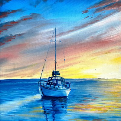Painting with sea and boat